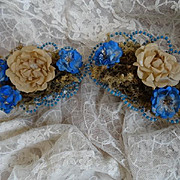 Charming pair handmade 19th C. French blue clear glass bead baskets artificial flowers