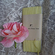 Delicious old French unused butter yellow silk ribbon still on card :  narrow  5 mm : doll pro
