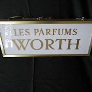 Vintage French illuminated old advertising display sign Worth perfume