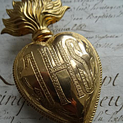 Unusual religious French ormolu flaming sacred heart ex voto reliquary IHS : Jesus  : 4 7/8th inch circa 1880