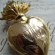 SOLD Delicious 19th C. French gilt brass religious flaming sacred heart unusual monogram  AM,
