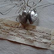 Exquisite antique French small  silver ex voto heart reliquaire Jesus Marie