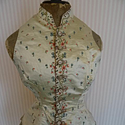 Exquisite late 18th century French cream silk ladies waistcoat with hand embroidered floral mo