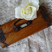 Decorative French 19th C. French wooden sewing box or casket steel pins mother of pearl cartou