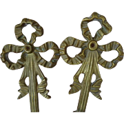 Delicious pair French bronze ribbon bow and tassel boudoir sconces : wall lights