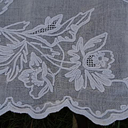 Enormous 19th C. French Chateau muslin cornely white work sheer : curtain: floral motifs recup
