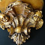 Enchanting antique gilded plaster shelf winged cherubs boudoir shell motifs