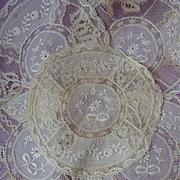 SALE PENDING 5 adorable old Normandy lace doilies floral bow motifs Chateau provenance