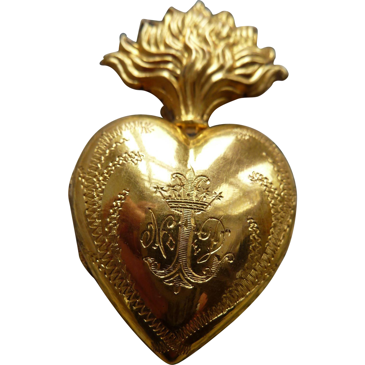 Gleaming Antique French Ex Voto Flaming Sacred Heart Box