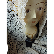 SOLD Exquisite flounce wide 19th century fine ecru Brussels Duchesse bobbin lace dentelle 66 .