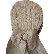 Delicious old French bride's ecru wedding bonnet lace embroidered tulle silk ribbon bow