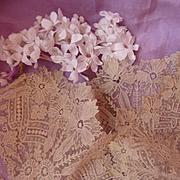 3 delicious flounces handmade Brussels point de gaze ecru lace doll projects