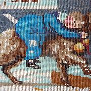 SOLD Decorative antique micro bead work unframed picture  St Bernard dog  child