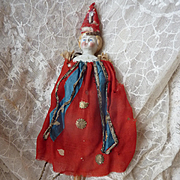Unusual antique Parian blond hair  doll head marotte original costume