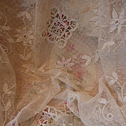 Delicious old French hand made white spotted tulle boudoir bed cover floral foliage applicatio