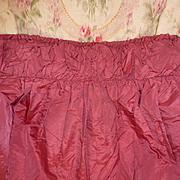 SALE PENDING Pretty antique French raspberry colored taffeta long valance : pelmet  : cantonni