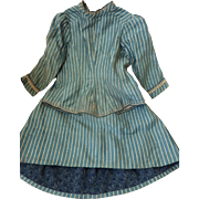 Adorable blue and white hand made 2 piece outfit skirt jacket French fashion doll