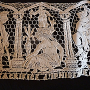 SOLD Decorative old hand made French lace panel depicting the sacrifice of Iphigenia Greek myt