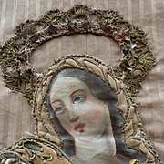 SOLD Antique French religious textile panel Assumption Virgin Mary heaven : cherubs : metallic