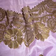 Rare morceau faded grandeur antique gold metallic thread lace panel floral motifs