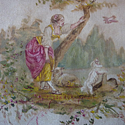 Adorable 19th C. French hand painted silk panel bucolic scene young girl dog sheep dove