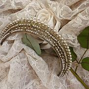 Exquisite faded grandeur antique French ormolu faux pearl diadem , circa 1820's