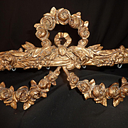 SOLD Delicious Faded grandeur gilt bronze French bed corona : canopy  : rose swags bow circa 1