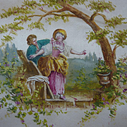 Adorable antique French hand painted silk panel bucolic romantic scene young girl with blindfo