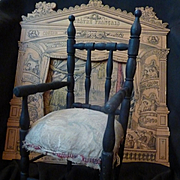 Adorable late 19th C. French doll's ebonized wooden chair with arms