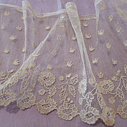 SALE PENDING Rare long flounce French  handmade Alencon needle lace : 140 inches  Bees : flora
