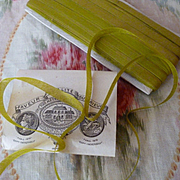 Delicious antique French narrow moss green ribbon : unused on original packaging : sewing doll