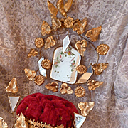 19th c. French faded grandeur ormolu boudoir wedding cushion display stand : painted mirror fl