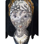SALE PENDING Beautiful flounce 19th C. Black Chantilly bobbin lace : floral motifs : scallop .