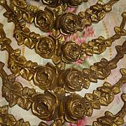 SOLD 9 antique French faded grandeur ormolu rose swags ciel de lit : bed corona, circa 1900