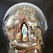 Rare 19th C. French diorama glass dome Grotte de Lourdes religious souvenir  Virgin Mary : Bernadette