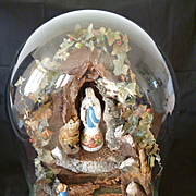 Rare 19th C. French diorama glass dome Grotte de Lourdes religious souvenir  Virgin Mary : Ber