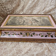 Exceptional decorative 19th C. French chocolate : candy box : eglomise pink opaline sides