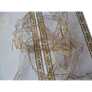 Delicate old French hand made gold metallic lace : trim : 100 inches