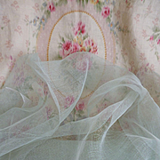 SALE PENDING Superb French duck egg colored stiffening tulle fabric for doll : sewing projects