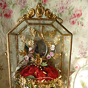 Delicious antique French ormolu wedding display casket : cabinet : wax corsage : pink bisque f