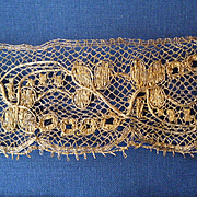 3 superb morceaux unusual antique hand made gold metallic lace : sewing projects