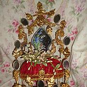 Elaborate antique French ormolu wedding cushion : cornflower : Lily of the valley : poppy : wa