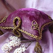 Opulent faded grandeur 19th C. French boudoir wedding display cushion pillow : metallic passem
