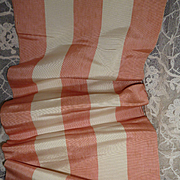 SALE PENDING Delicious French taffeta peach and cream striped ribbon : projects :  96 inches l