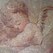 SALE PENDING Adorable antique French painting : cherubs : putti motifs : boudoir interior desi