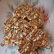 SALE PENDING 8 delicious French gilded pressed brass floral and foliage motifs : projects