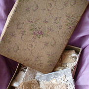 SALE PENDING Shabby faded grandeur fabric covered box filled with lace : collars : embroidered