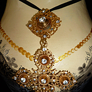 Decorative 19th C. gilded metal and rock crystal choker pendant cross style regional  : 4 1/4