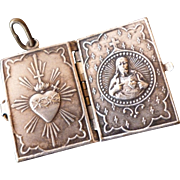French silver metal locket charm book form : flaming heart : jesus : Sacre Coeur Paris