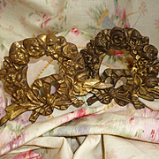 Pair  faded grandeur French gilt bronze floral wreath mounts : ribbon bow : 3 1/2 inches high
